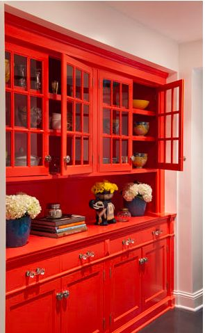 Gorgeous red kitchen hutch from Lucy Interior Designs here: http://lucyinteriordesign.com/main.htm