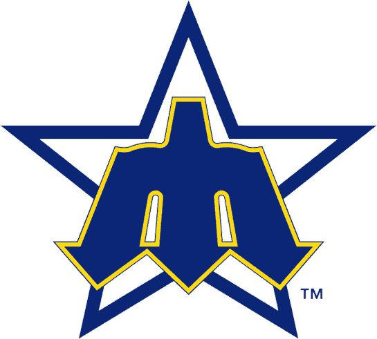 "This was the Seattle Mariners Logo from 1980-1986 - The trident shaped ""M"" on a blue star."
