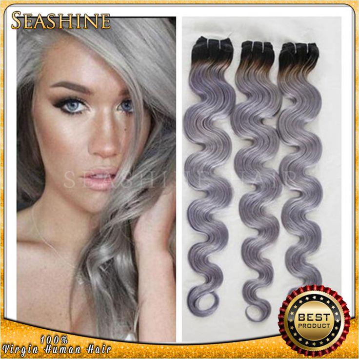 Серый цвет Волос Weave 100% Бразильского Серебряный Человека Дешевые Волос Ombre Серый