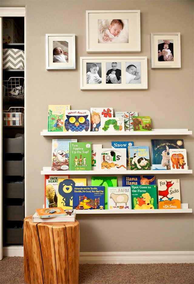 Book Ledges with Photo Collage Above