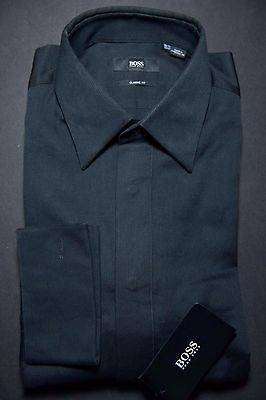 NWT Hugo Boss Mens Laurence French Cuff Classic Fit Black Dress Shirt 15.5 32/33