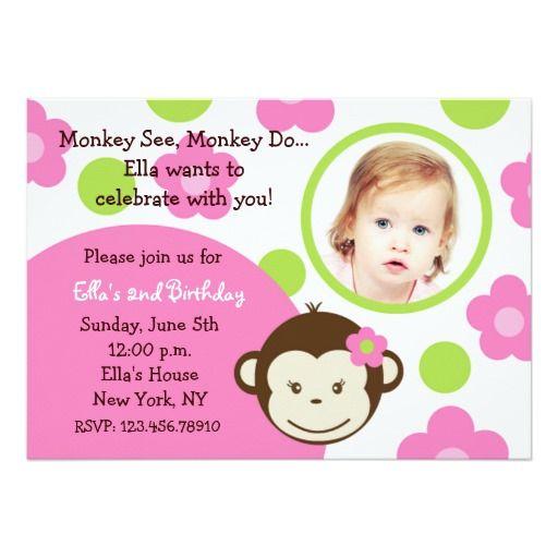 Invitaciones de la foto del chica del mono de la
