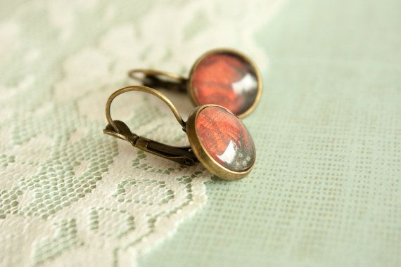 Smoked Red Glass Earrings Leverback Bronze by BeautyfromashesUSA