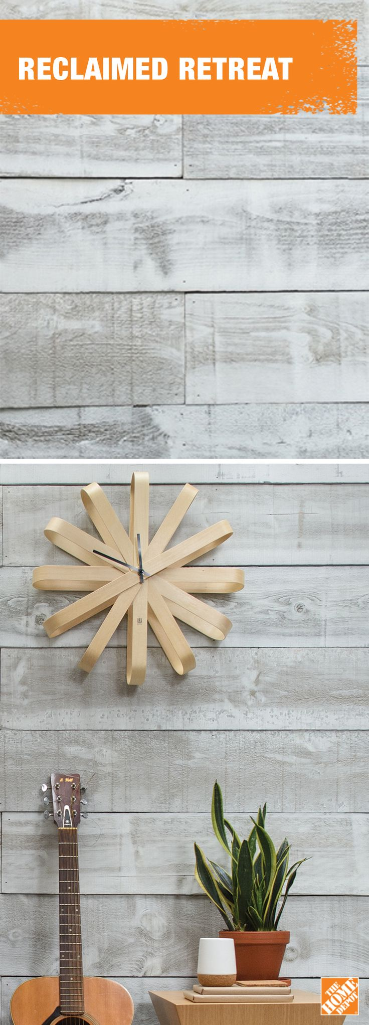 Whitewash some barn boards for a fresh take on a cozy classic. Learn more at homedepot.ca.