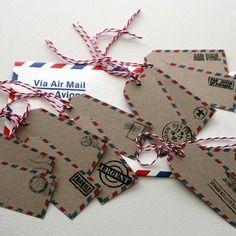 Etiquettes air mail - x12 - thème voyage