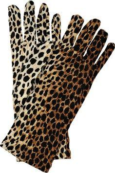 Velvet leopard print gloves