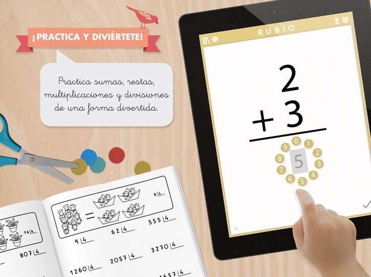 Practica sumas, restas, multiplicaciones y divisiones con nuestra primera aplicación para #ipad http://itunes.apple.com/es/app/icuadernos-by-rubio/id527604623?mt=8