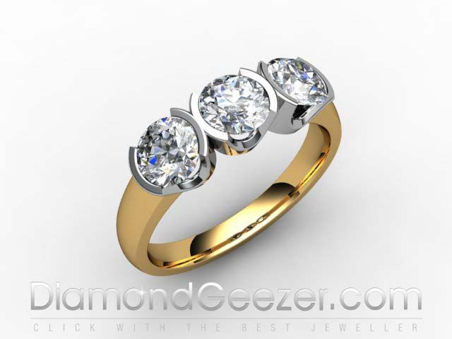 Trilogy Ring 18ct Hallmarked Yellow Gold 3 Stone Diamond Ring I.D. 01-2833-1014