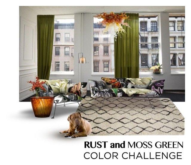 """Rust and moss green"" by culimanna on Polyvore featuring interior, interiors, interior design, Casa, home decor, interior decorating, Moooi, Viz Glass, Kartell e John-Richard"