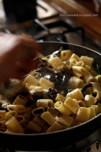 Mollica di Pane: Mezze maniche con melanzane, provola e crema di pe...