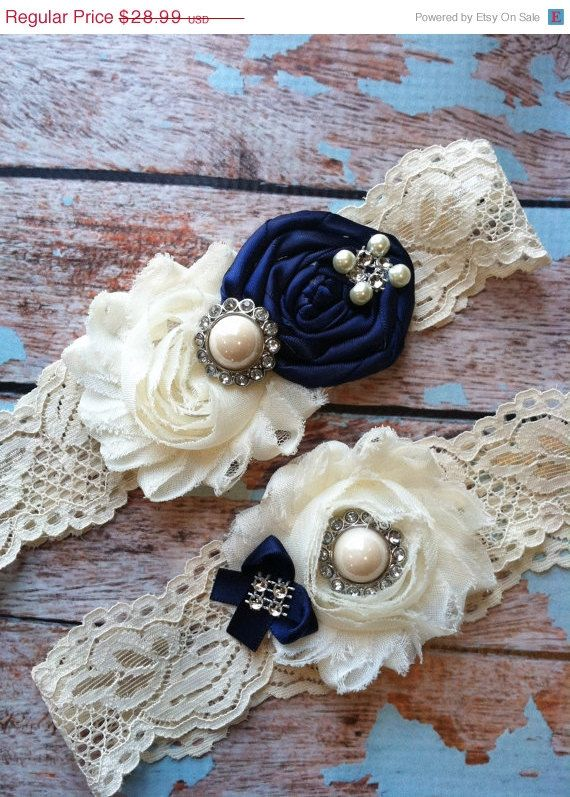 SALE(((LOOK))) / wedding garter / NAVY Blue / bridal garter/ lace garter / toss garter / Something BLue wedding garter / vintage inspir. $25.99, via Etsy.