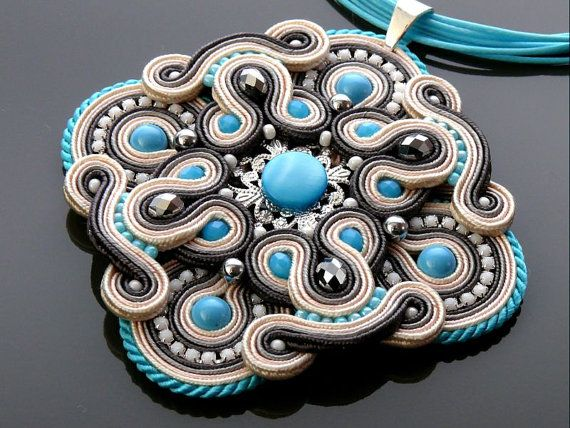 Gray and Turquoise Soutache necklace with Hematite and by ANBijou