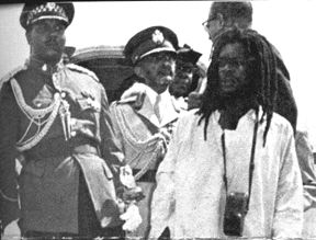 MORTIMER PLANNO AND HAILE SELASSIE I DURING THE EMPEROR'S VISIT TO JAMAICA, 1966. http://en.wikipedia.org/wiki/Grounation_Day
