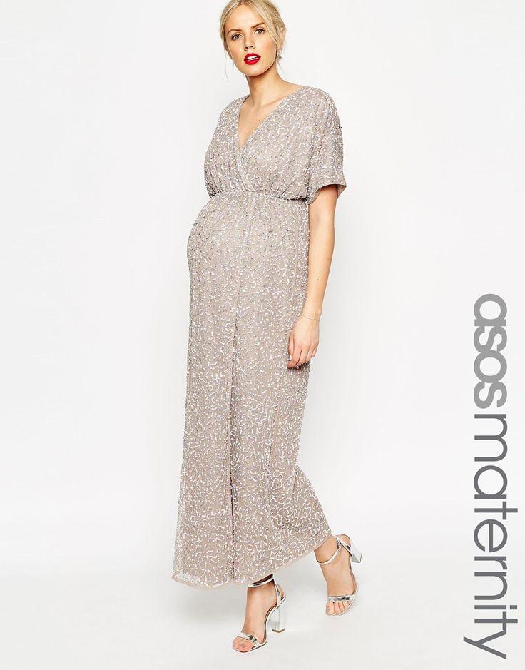8 months pregnant wedding wear / ASOS Maternity Kimono Maxi Dress In Sequin