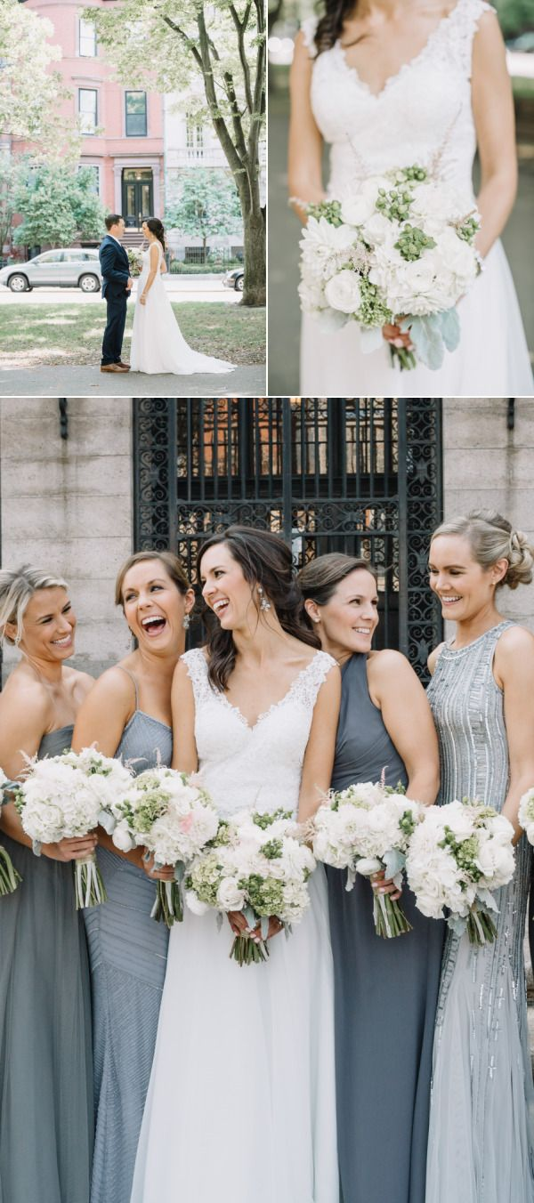58 best bridesmaids images on pinterest beach weddings mismatched bridesmaids in grey for a city wedding style me pretty ombrellifo Gallery
