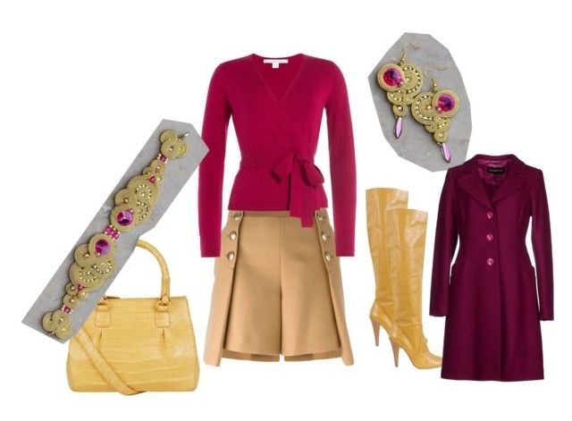 golden fuchsia by galeriamagia on Polyvore featuring moda, Diane Von Furstenberg, Roccobarocco, Sacai Luck, Moschino and Nancy Gonzalez
