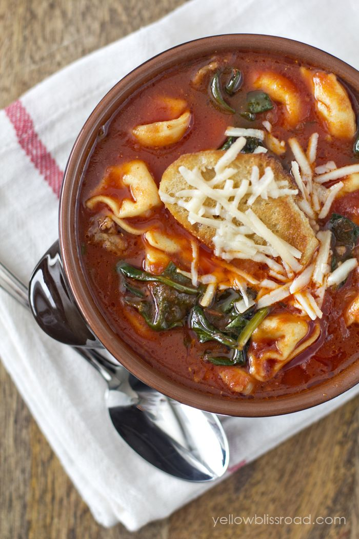 Tomato Basil Tortellini and Spinach Soup