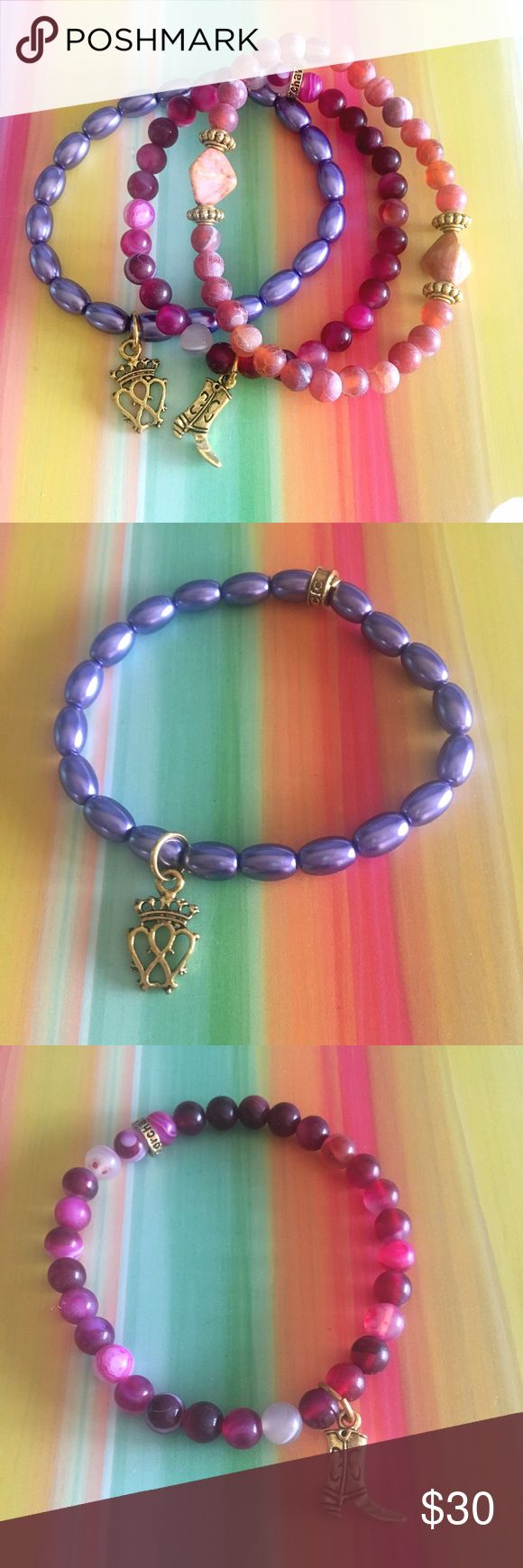 🆕 Chavez for Charity Berry Trio Set of 3 Stretch purple has a Regal crown charm. Multi pink has a cowboy boot and matte pink has gemstone accent rocks. chavez for charity Jewelry Bracelets