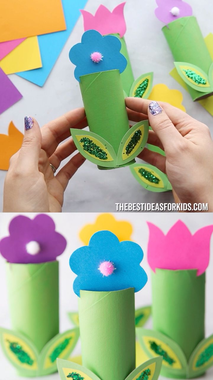 DIY Craft: TOILET PAPER ROLL FLOWERS 🌸🌼 - such a fun spring craft for kids! <a class=