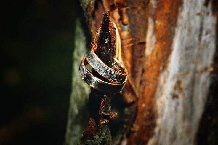 Pallad, rose gold wedding rings with finger imprint #bielak #withlove