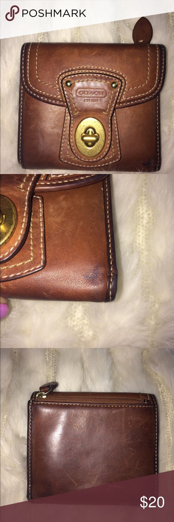 Coach wallet Leather wallet is in used condition... I think makes it better has little stain ▫️ bundle and Save for better discount 😁 Coach Bags Wallets