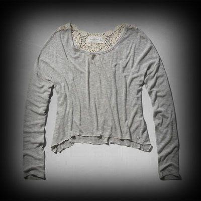 Abercrombie&Fitch レディース Tシャツ アバクロ Deidra Snit ニット Tシャツ ★Abercrombie&Fitch今季新作商品。アメカジ代表的な人気ブランド。 ★シンプルでどんなアイテムとも合わせやすい便利なTシャツ。レース使いが女性らしいアイテム。