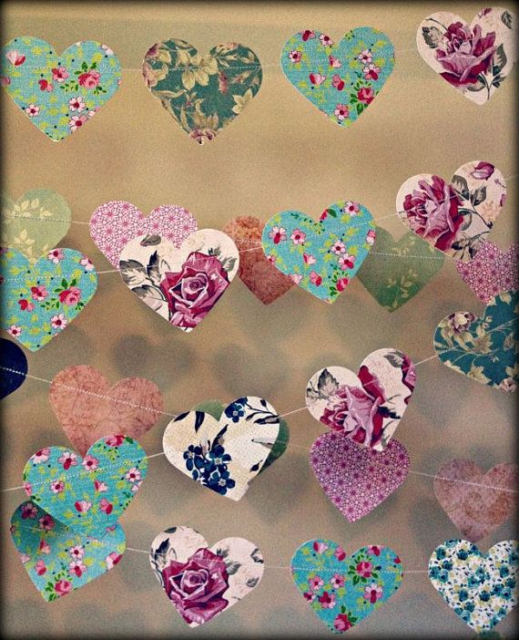10ft paper heart garland vintage shabby chic roses for Heart decoration ideas