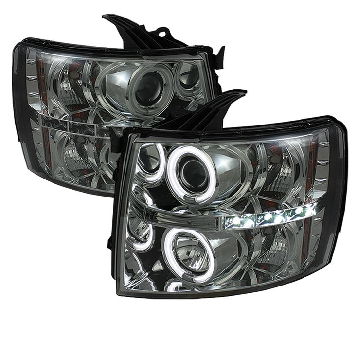 2007-2013 Chevy Silverado Smoke CCFL Halo Projector Headlights - Spyder Auto - Pair - Fits 2007, 2008, 2009, 2010, 2011, 2012, 2013. Shop with the pros over at autopartpros.com