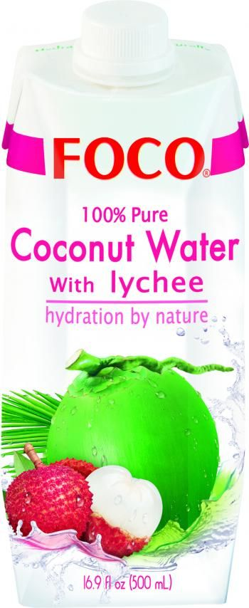 Woda kokosowa z liczi (500 ml) - FOCO