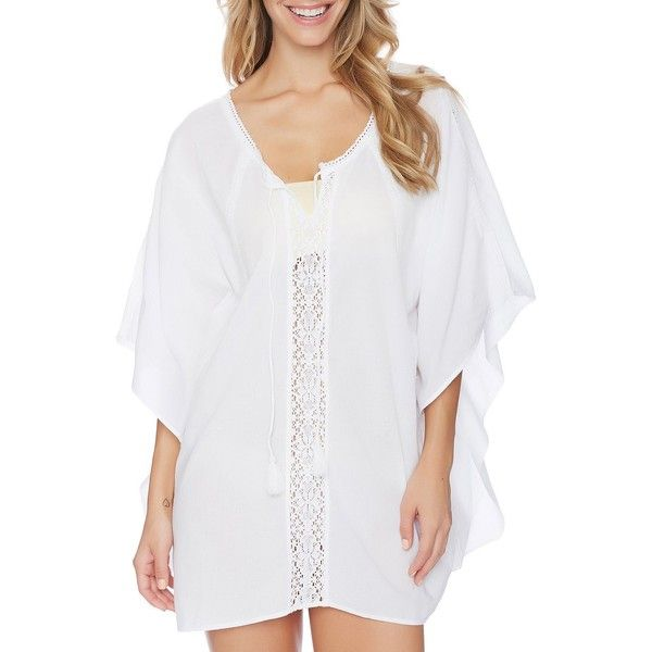 Athena Women's Cabana Essentials Stella Caftan ($56) ❤ liked on Polyvore featuring tops, tunics, white, kaftan tunic, v neck tops, crochet tunic, v neck tunic and white kaftans