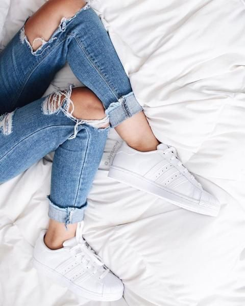 ripped denim + #adidas superstars