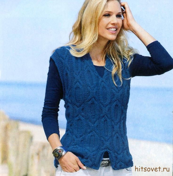 Синий женский жилет с узорами, фото.
