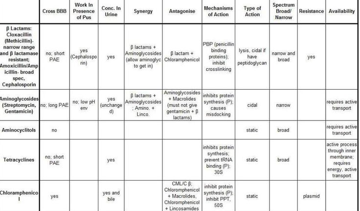 Veterinary drug overview charts