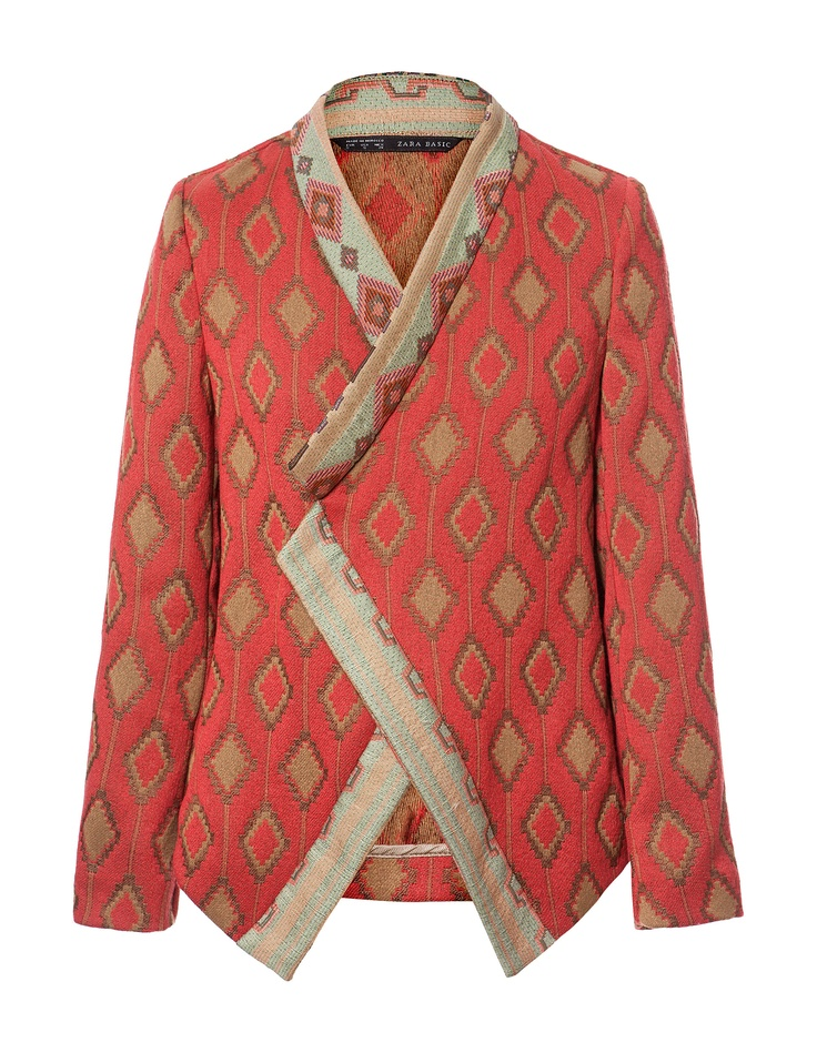 JACQUARD PATTERN CROSSOVER BLAZER - Blazers - Woman - ZARA United Kingdom