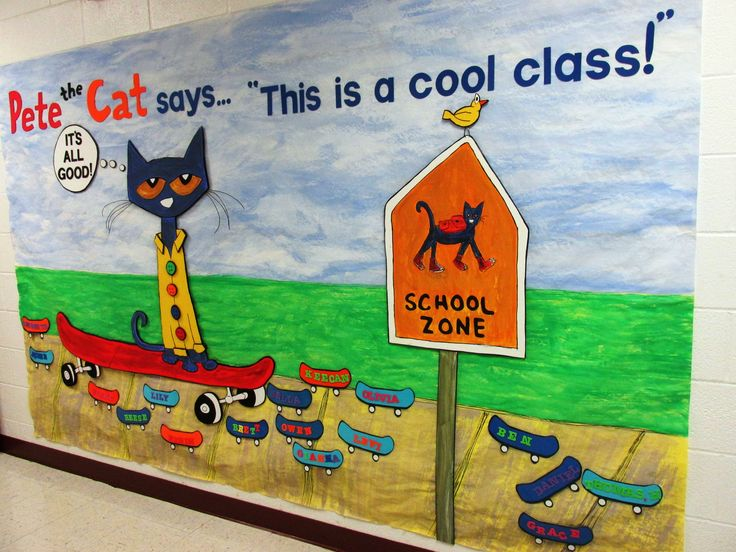 Pete the Cat, our back-to-school hall bulletin board
