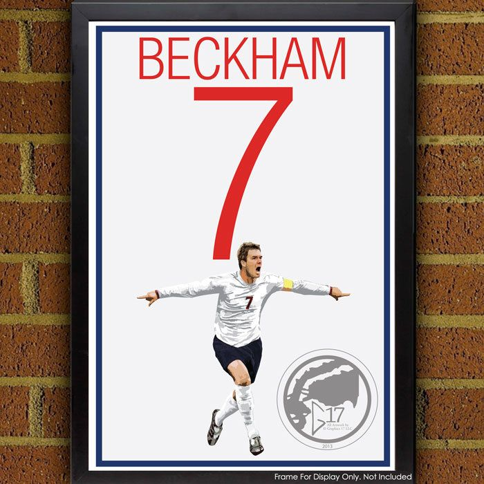 David Beckham Poster - England Soccer Poster, print, art, home decor, wall decor, red devils poster, Three Lions Art Work by Graphics17 on Etsy
