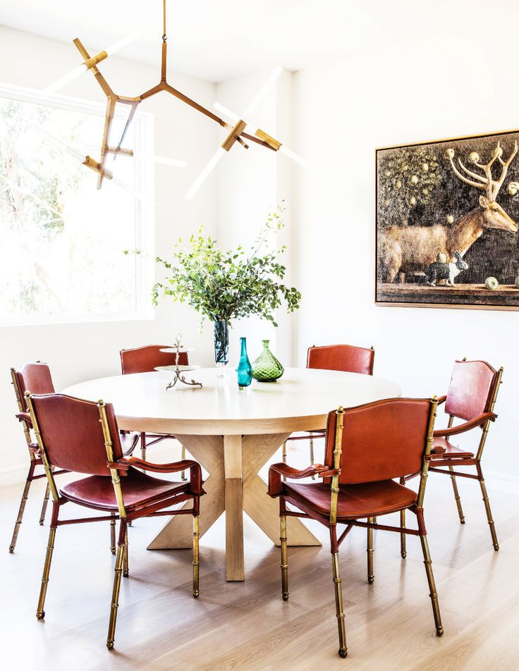 A bright  modern  yet eclectic dining space with leather chairs and a  Sputnik light194 best d i n i n g   r o o m s images on Pinterest   Dining room  . Mediterranean Style Dining Room Chairs. Home Design Ideas