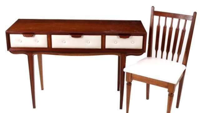 Mesa Secretaria Cadeira Vintage pés de Palito Paranhos - imagem 1