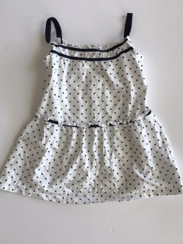 619ddb52f121 Janie-and-Jack-Dress -Cotton-Blue-White-Girls-Infant-Baby-Polka-Dots-18-24-mos