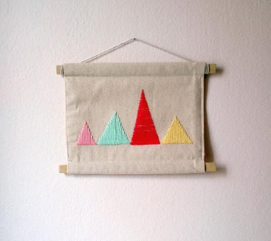 wall decor  embroidered triangles  yarn 28.5X23cm by AKUGI on Etsy, €12.90