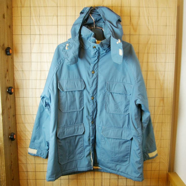 【Woolrich】USA製70sビンテージ古着ライトブルー中綿入りマウンテンパーカー|レディースサイズ