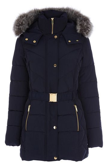 This is one coat that will definitely keep you cosy this winter! You'll have no problem leaving the house on dark mornings knowing you're wrapped up in this - the thick, puffed navy material teamed with the generous faux-fur trimmed hood will keep the wind and rain at bay. Go and face that weather! Features detachable waist belt.