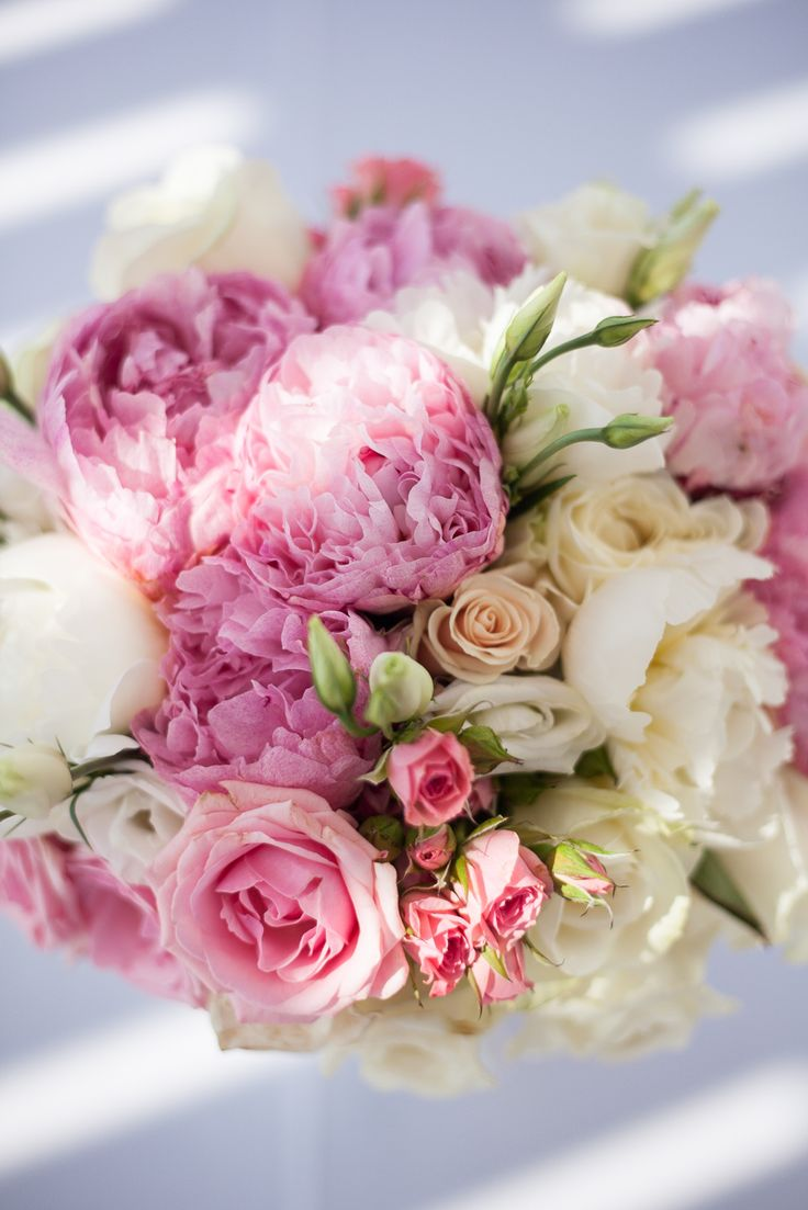 bridal bouquet with pink and white peonies