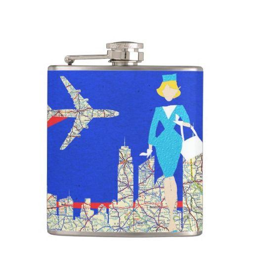 Retro Flight Attendant Flask--#flask #whiskey #alcohol #liquor #booze #drinks #travel #maps #retro #MidCentury #airplanes #Zazzle