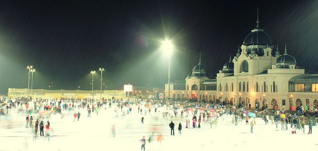 The Városligeti Műjégpálya is a public ice rink located in the City Park of the Hungarian capital Budapest, between the Heroes' Square and the Vajdahunyad Castle.
