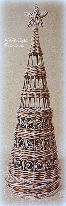 Плетение из бумажной лозы. Елка. Высота 52 см. Автор Наталья Фролова, Запорожье, Украина