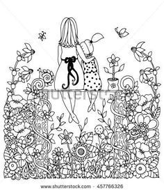 Vector illustration zentangl, mother and daughter sitting in the flowers. Doodle drawing. Coloring book anti stress for adults. Black and white.