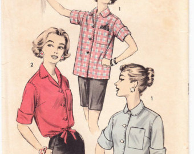 Vintage 1956 Advance 8254 Sewing Pattern Misses' Shirt Blouse or Overblouse Size 12 Bust 32