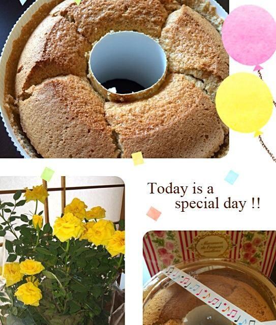 ベタかなぁ〜 今年は黄色いバラと共に… - 16件のもぐもぐ - 紅茶のシフォンケーキ♡ by ako0609