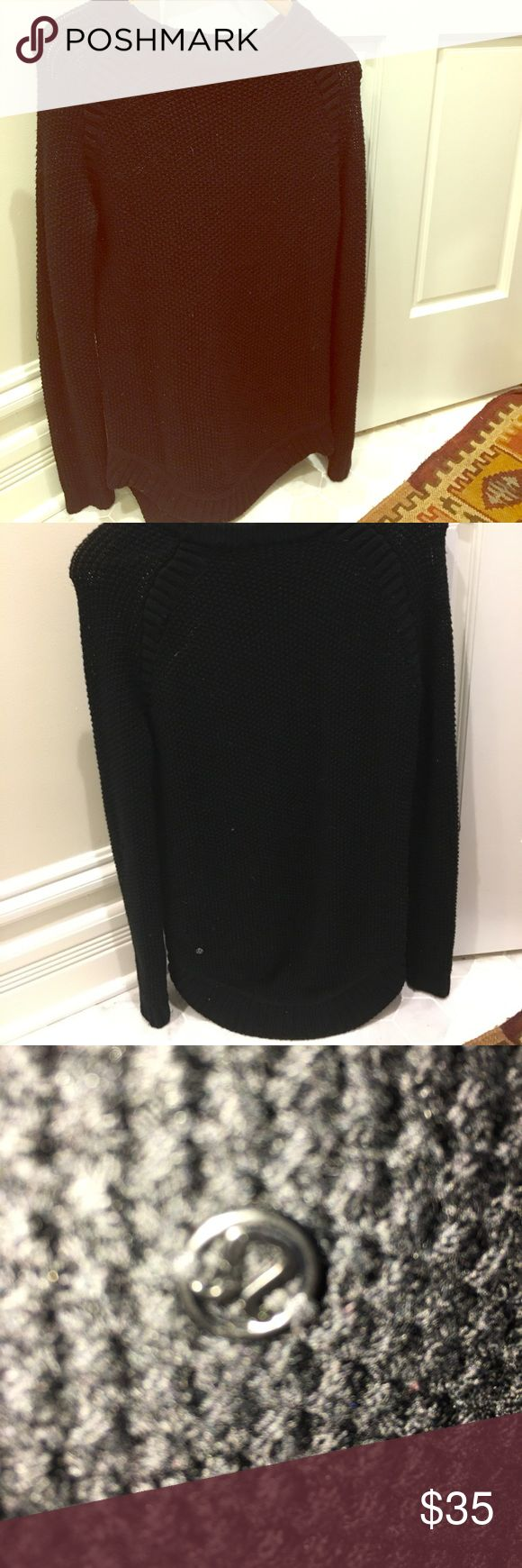 Lululemon long black sweater! Grab this up! Beautiful Lululemon sweater! Size 4.  I cannot find the name of the sweater as it was originally bought in 2015 - thus the deep discount!! lululemon athletica Sweaters Crew & Scoop Necks